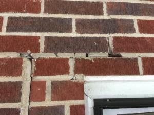 spalling damage on brick veneer