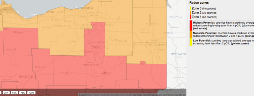 Akron Area Radon Levels Map