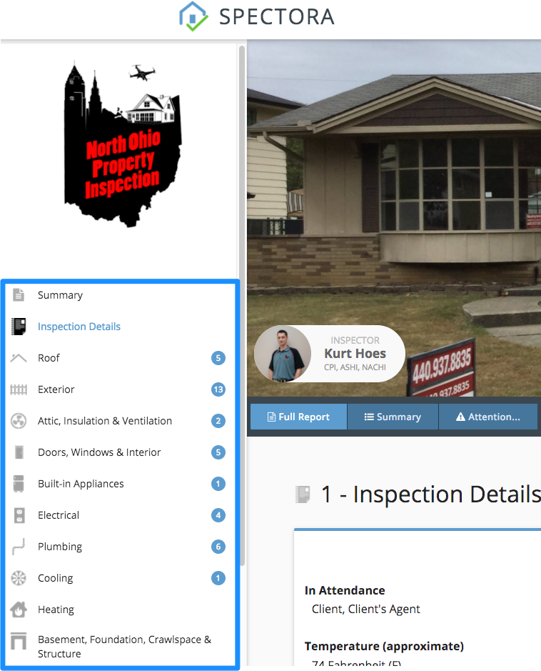 Home inspection report table of contents