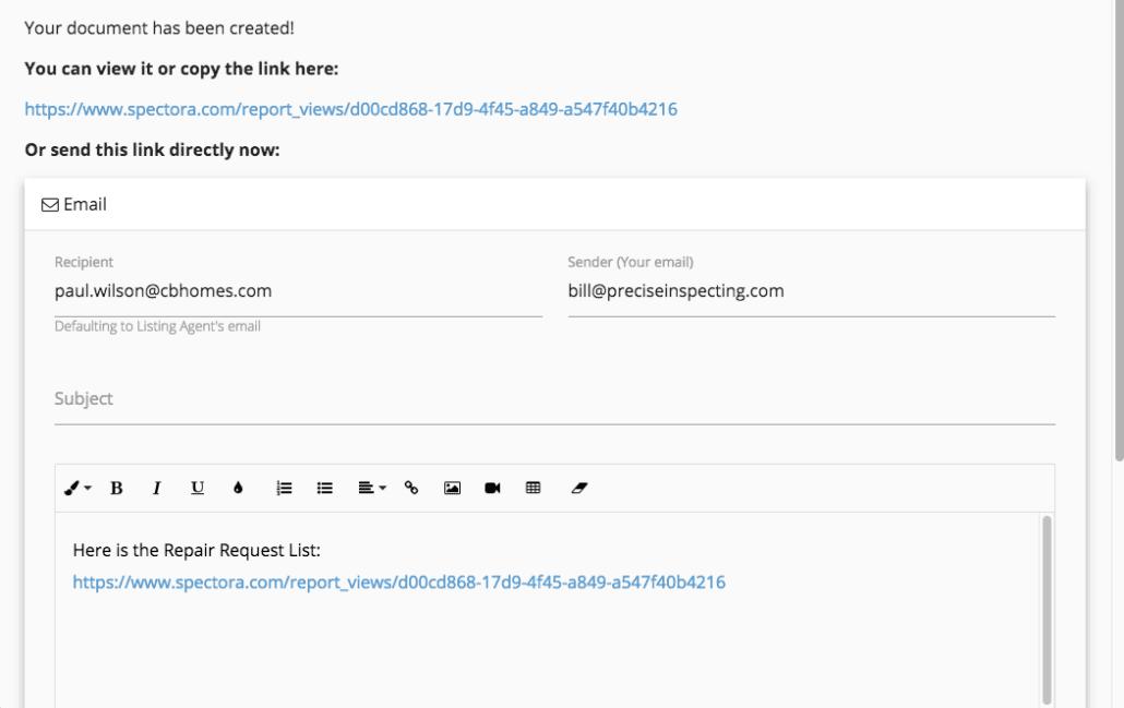 document created screenshot